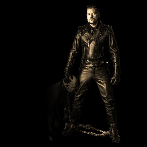 SM Master Andre alias Dominus Berlin in Vollleder mit Nackt Sklave an Kette in Anbetung und Devotion neben seinem Bein kniend